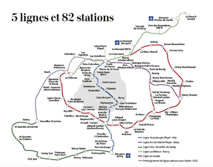 Les lignes de train et gares du grand paris express (transports parisiens)