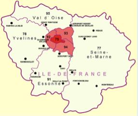 Carte des départements d'île-de-France